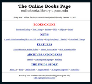 Online Books Page Links Millions of Books