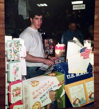 Agent Steven Malk as a teenager working in his parents' bookstore.