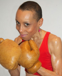 Andrea enlisted a boxing trainer and went into the ring as part of her research for her award-winning novel, Bird in a Box.