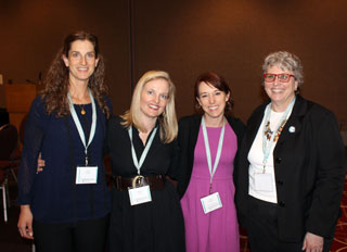 Katey Schultz, Siobhan Fallon, Andria Williams, and military chaplain's wife/writer Sarah Colby at theAWP Conference in Minneopolis in April 2015.