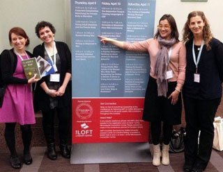 Panelists Andria Williams, Jehanne Dubrow, Emily Gray Tedrowe, and Katey Schultz spoke about Women Writing War at the AWP Conference.