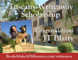 Books Make a Difference, Writeaways, and Elva Resa Publishing has awarded its Tuscany Writeaway Scholarship to JT Jenn Blatty, a military-connected woman writer and photographer from New Orleans.