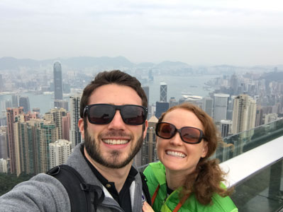 "Krystal's husband, Kevin, is also in the Air Force. She says, ""This was taken on a trip to Hong Kong after I returned from my deployment. Military life means more time away than together; adventuring together whenever possible is important."""