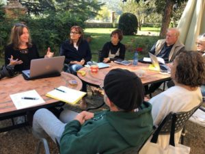 Karen Pavlicin-Fragnito (Author) workshopping her writing at Writeaways Tuscany.