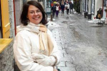 Jocelyn on the slushy streets of Quebec City, on a research trip for her book, Between Two Shores.