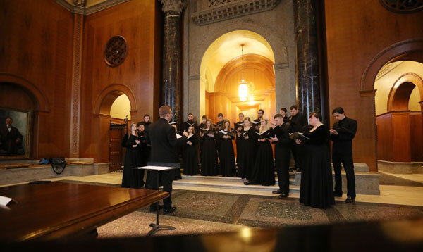 Baylor Chamber singers practice for a performance in Armstrong Browning's Foyer of Meditation. (Courtesy Baylor University)