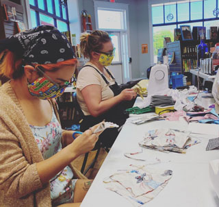 While the Whirlwind Book Bar was closed in the early days of the pandemic, the staff sewed masks for nursing homes and hospitals in their Oklahoma community. Photo courtesy of Whirlwind Book Bar.