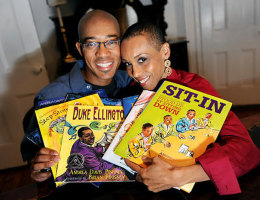 Brian Pinkney and Andrea Davis Pinkney at home in Brooklyn