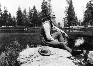 John Muir at Mirror Lake in Yosemite. Photo courtesy of Library of Congress.