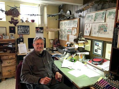 Paul Dillon, illustrator of N is for Never Forget: POW-MIA A to Z and president of the Jefferson Barracks POW-MIA Museum, in his St Louis, Missouri, studio.