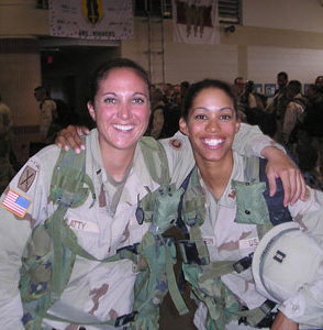 JT with her best friend, Erika Goldstein, arriving back to Hunter Army Airfield in Savannah, Georgia, from Iraq in 2003.