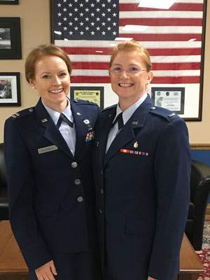 "Krystal's mom was in her initial Commissioned Officer Training at the same location Krystal attended Squadron Officer School. ""This was the first time I had seen her in uniform!"" says Krystal. Photo by Mindy Van Kuren."