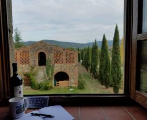 2018 Tuscany Writeaway begins. View out villa window. Photo by Karen Pavlicin-Fragnito