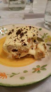 Homemade gluten free tiramisu for dessert.