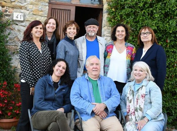 2018 Tuscany Writeaway participants. Front row (left to right): JT, Gene, Maddy. Back row: Sharyn, Karen, Dixie, John, Mimi and Candy.