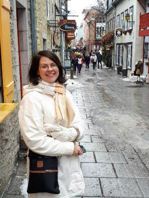 Jocelyn on the slushy streets of Quebec City, on a research trip for her book, Between Two Shores
