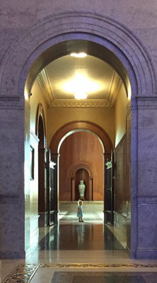 A young library-goer gets a first look Armstrong Browning's entrance foyer. (Courtesy Justin Kroll)