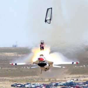 Chris Stricklin ejected from his F-16 just before impact during a Thunderbirds air show.