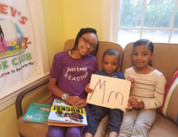 Sydney Dickerson and her siblings, Sean and Layla, create an alphabet learning video for Sydney's Book Club.