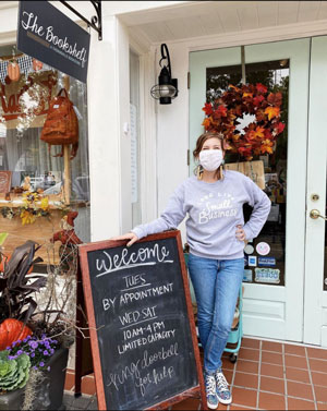 Annie Jones, owner of The Bookshelf, takes health precautions for the customers who come to her Georgia bookstore, including limited hours and mask requirements. Photo courtesy of The Bookshelf.