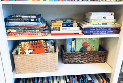 Baskets, front facing, and side-stacking books offer an invitation for young readers to access their books. Contributed photo by Casey F.