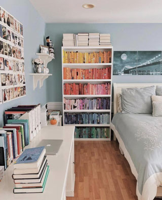 For a visual pop of decor inspiration, sorting and storing books by color makes book organizing a breeze. Contributed photo by Ana (IG: @inquisitivebookworm).