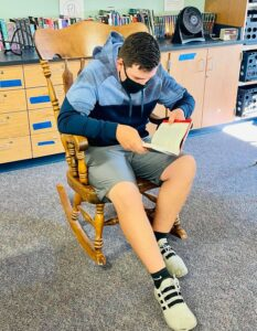 Ethan Bouchard is one of many Ogdensburg students who reads more than 30 books per year using the classroom library. He loves books by Tim O'Brien, among other authors.